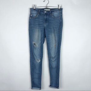 KanCan Mid-Rise Medium Wash Distressed Skinny Jean